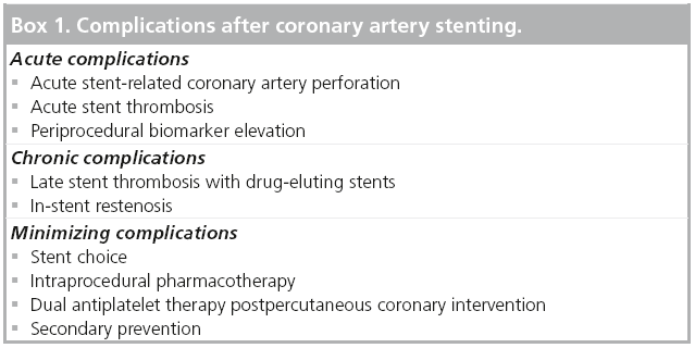 minimizing complications following stent implantation outcomes and
